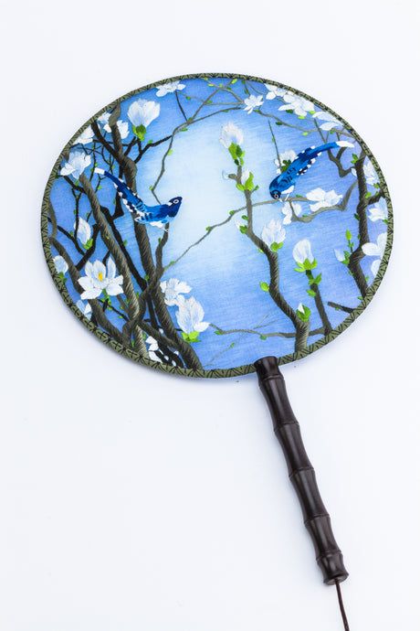 Chinese Traditional Embroidered Hand Fan - 'Oriental Magpie 喜鹊' - jindesignsuk