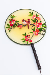 Chinese Traditional Embroidered Hand Fan-'Pink Flower and Brown Bird ' - jindesignsuk