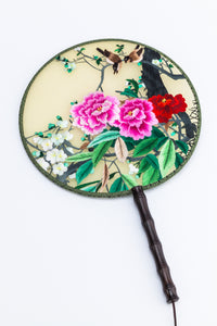 Chinese Traditional Embroidered Hand Fan-'Pink Peony and magpie' - jindesignsuk