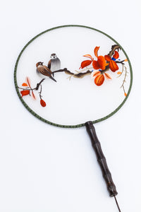 Chinese Traditional Embroidered Hand Fan-'Bird and Red Flower' - jindesignsuk