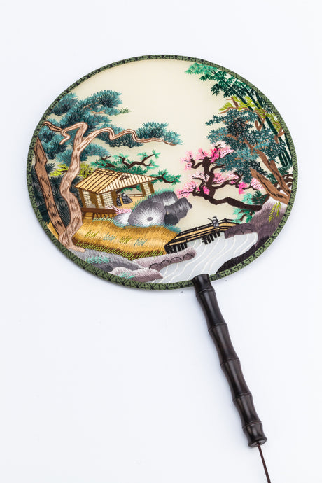 Chinese Traditional Embroidered Hand Fan - 'House 家' - jindesignsuk