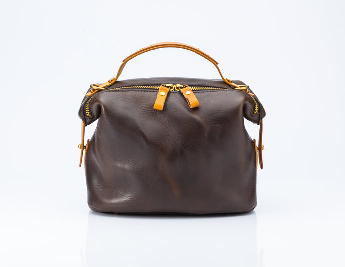 LEATHER BAG - Bowler Bag with Tan Detailing