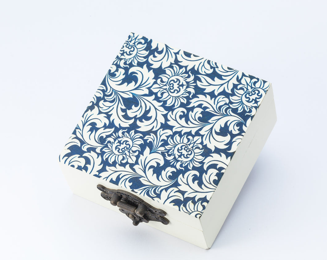 Small Wooden Box - Blue White Detail