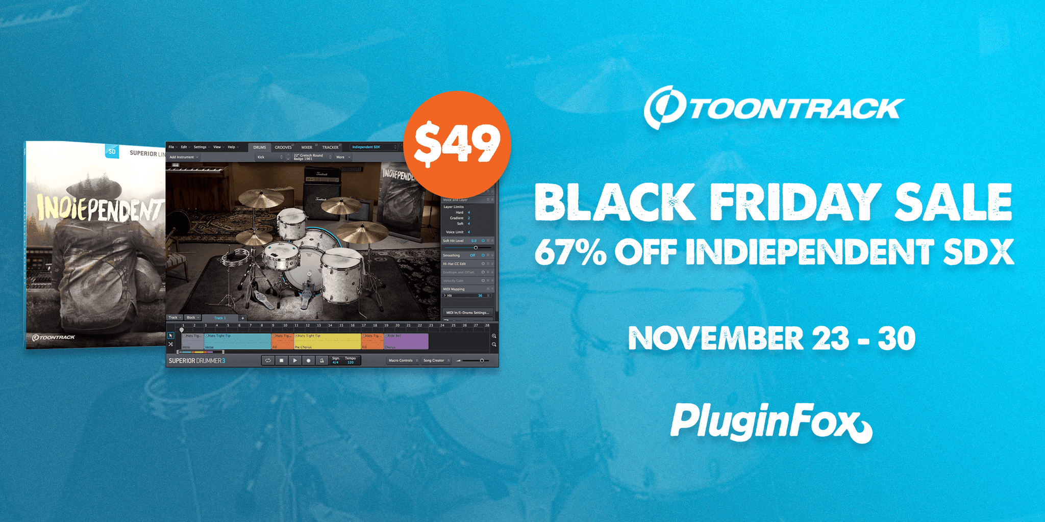 Toontrack Indiependent Flash Sale - Nov 23 -30