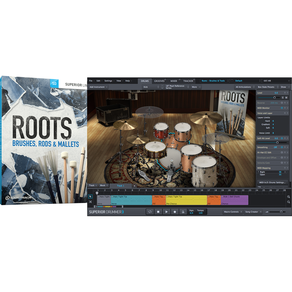 Toontrack SDX: Roots - Brushes, Rods & Mallets - PluginFox