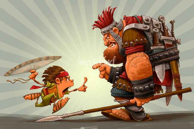 David and Goliath Print by Dennis Jones