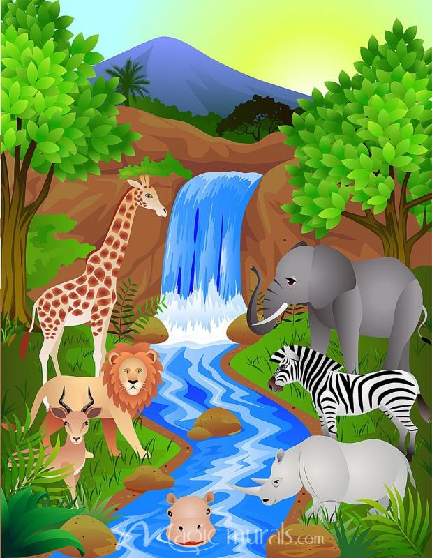 Cartoon Safari Mural