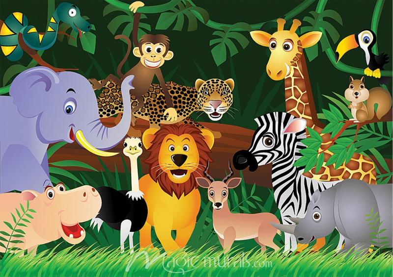 Cartoon Jungle Animals Mural