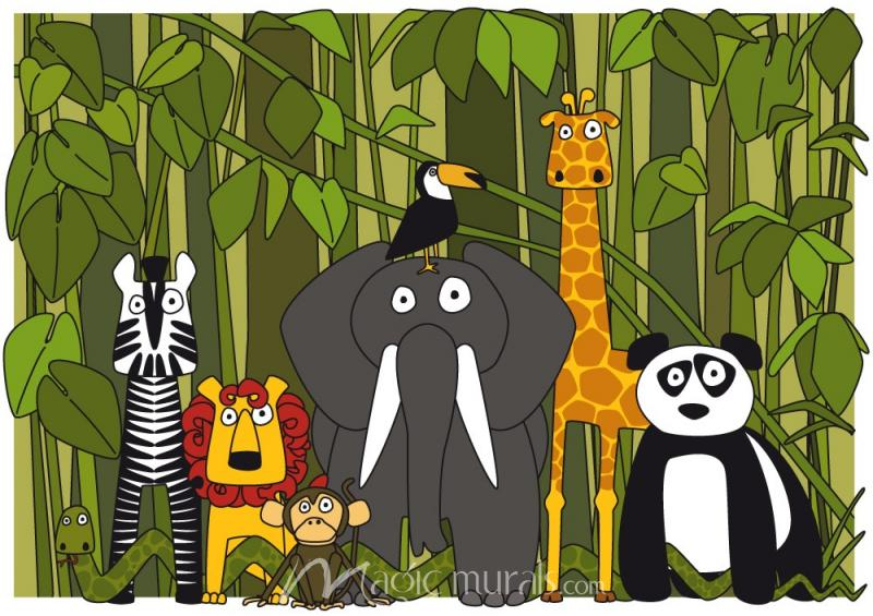 Cartoon Safari Animals Mural