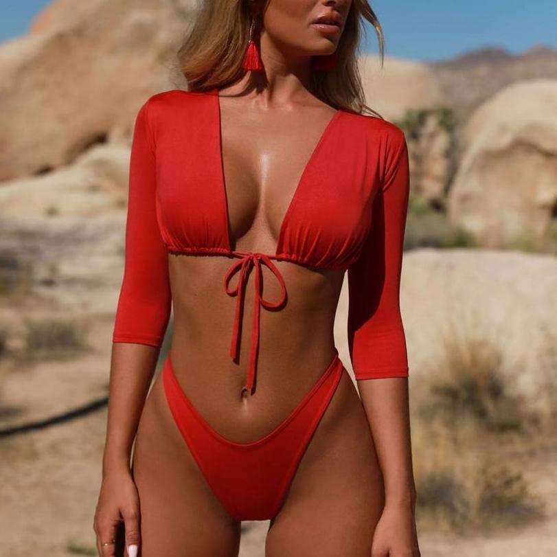 MiraVoss.com:Brazilian Bandage Push Up High Cut Swimwear,red / S