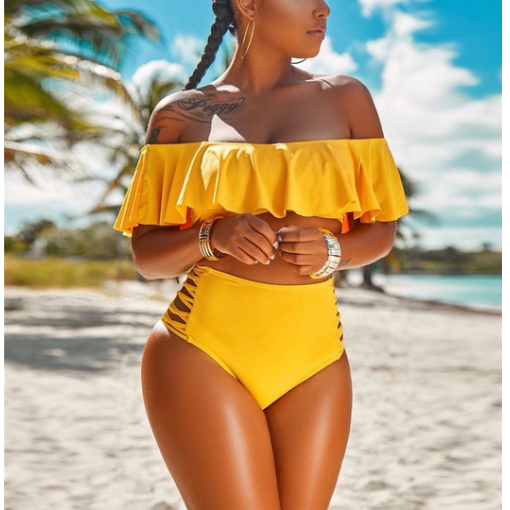 MiraVoss.com:Sexy Push Up Bikinis Set Ruffle off Shoulder Swimsuits,Yellow / XL