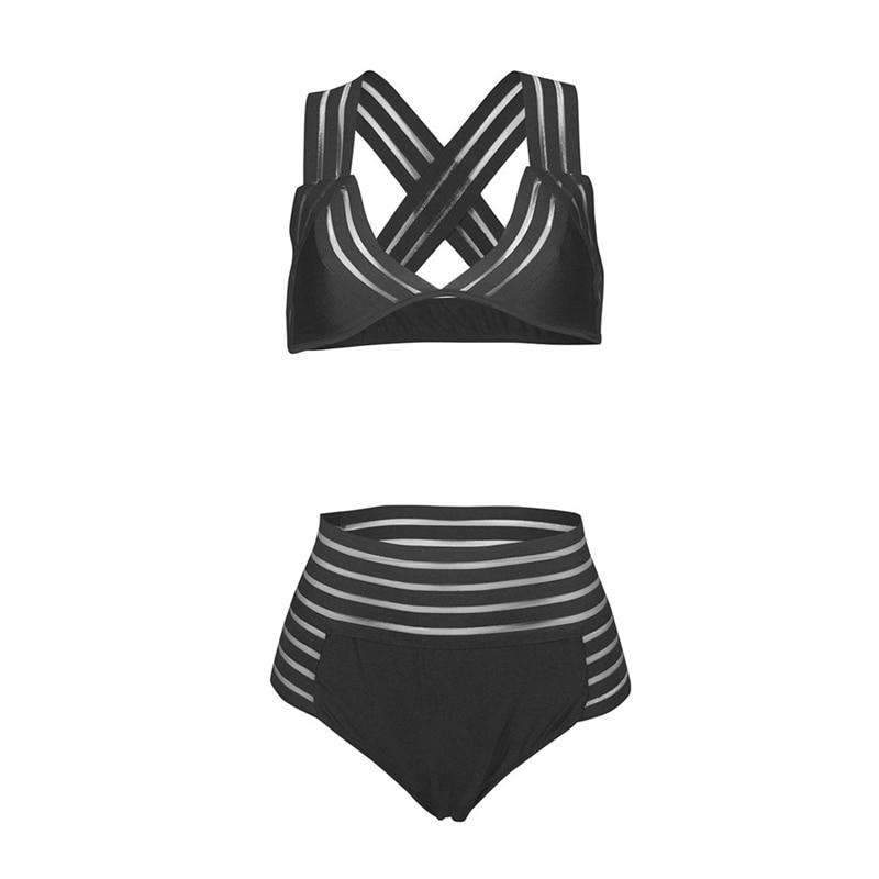 MiraVoss.com:Black Mesh High Wait Swimwear,Black / M