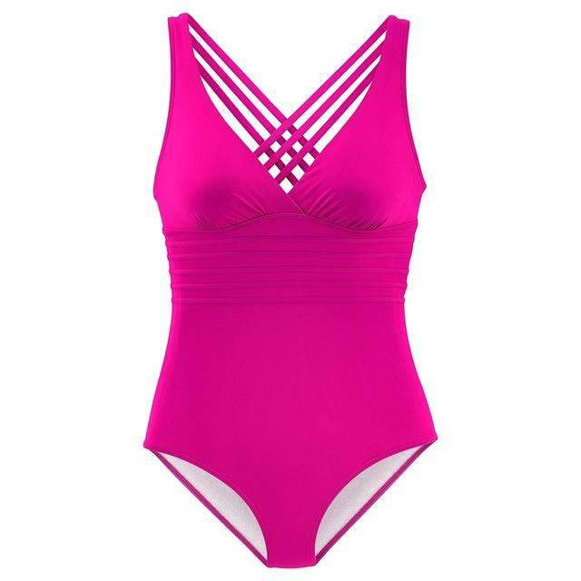 MiraVoss.com:Vintage One Piece Swimsuit Retro Striped,Pink / S