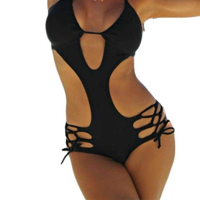 MiraVoss.com:Plunge Cut Out Strappy Swimwear,Solid Black / L