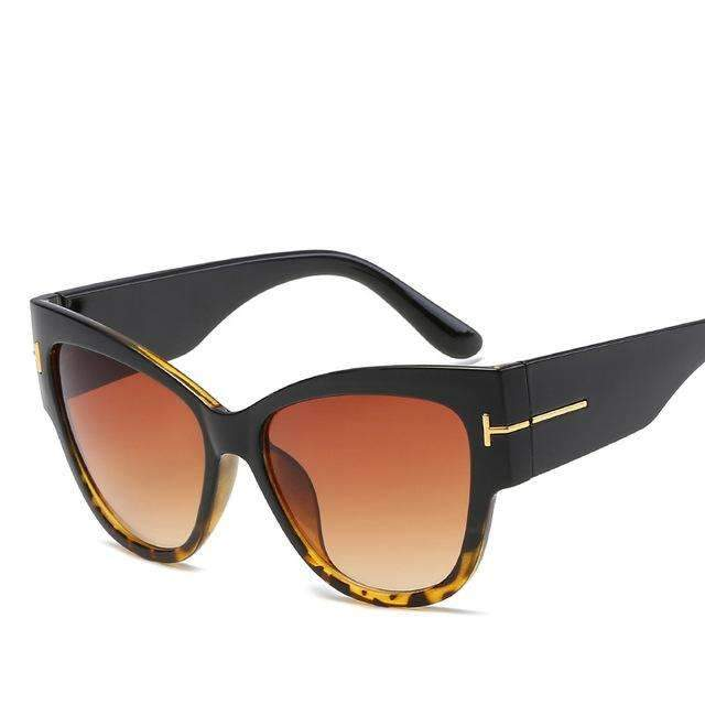 MiraVoss.com:Louisa Cat Eye Sunglasses,Black Brown