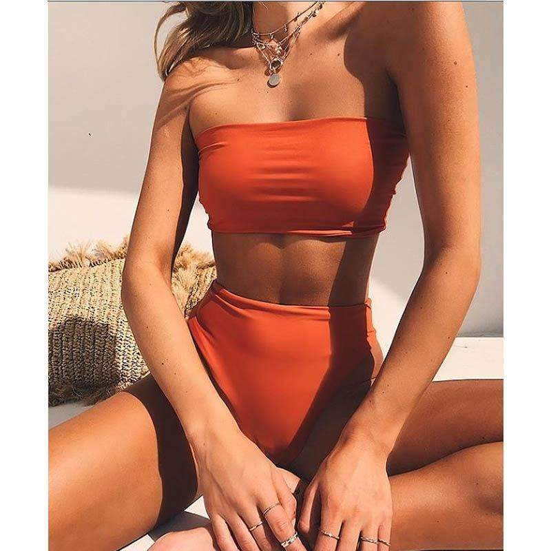 High Leg Bandeau bikini set