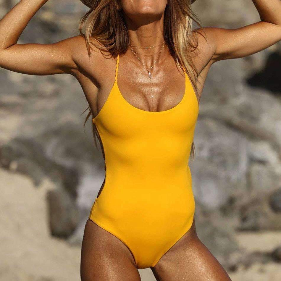 MiraVoss.com:One Piece Cross Halter Back Swimwear,Yellow / L