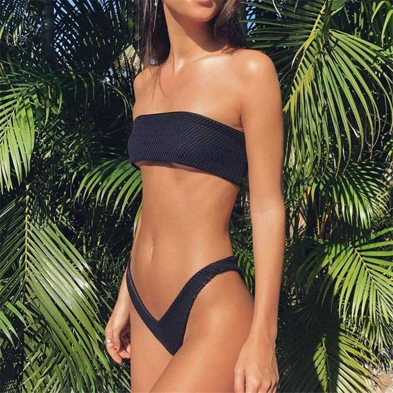 MiraVoss.com:Black Bikini Solid Bathing Suit,Black / S