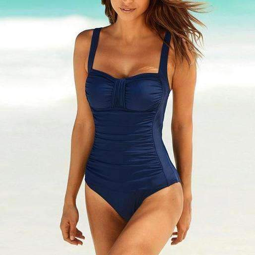 MiraVoss.com:One Piece Vintage Bodysuit,Dark Blue / M