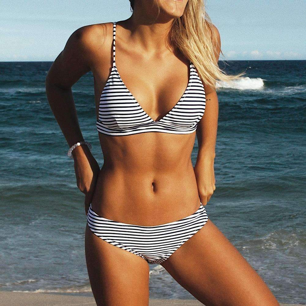 MiraVoss.com:Summer Stripe Push Up Swimwear,M / Black and White Stripes