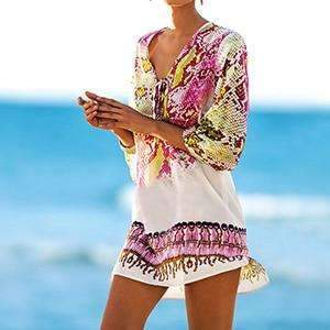 MiraVoss.com:Bathing suit cover ups Kaftan Beach,rose / One Size