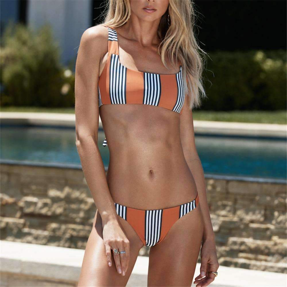MiraVoss.com:Micro Bikini Stripe Swimwear,Orange / M