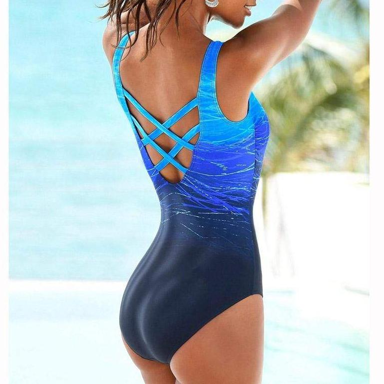One Piece Swimsuit Strappy Back Gradient Color Bathing Suit