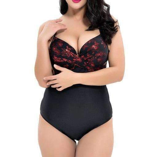 MiraVoss.com:Jenellee One Piece Underwire Swimwear Bodysuit,Red / XL