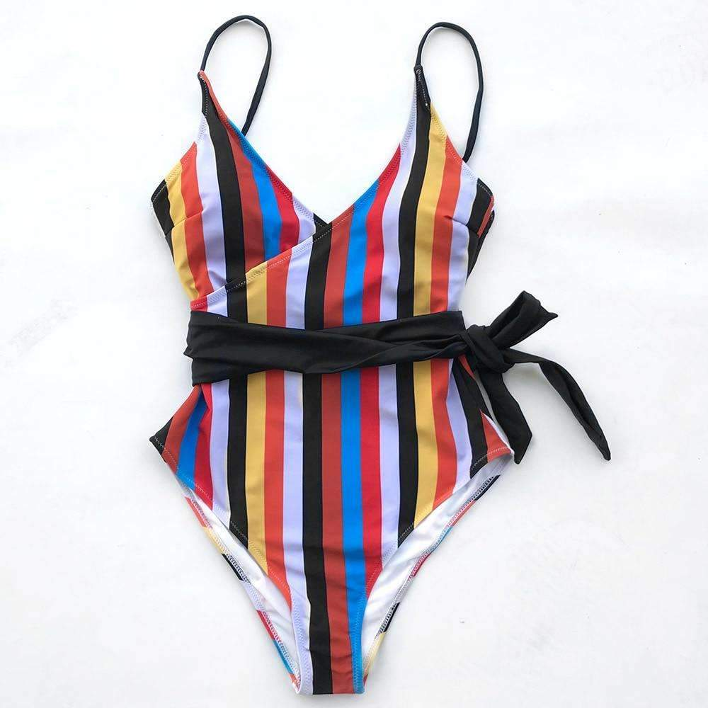 MiraVoss.com:Stripe One Piece Push Up Swimsuit,Multi / L