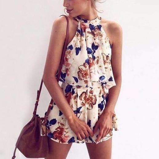 MiraVoss.com:Floral Print Chiffon Playsuit Off Shoulder Halter Sleeveless Boho,floral blue / L