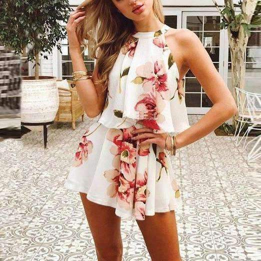 MiraVoss.com:Floral Print Chiffon Playsuit Off Shoulder Halter Sleeveless Boho,floral design / L