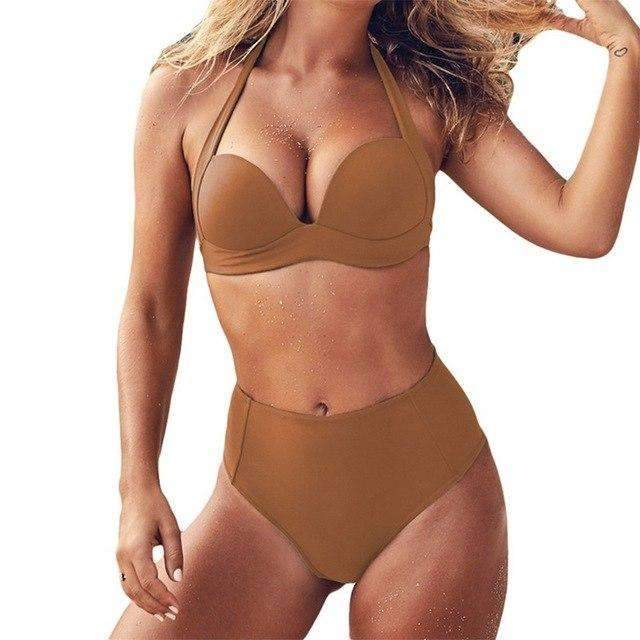 MiraVoss.com:Keyshia Push Up Bikini Set,Brown / S