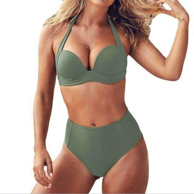 MiraVoss.com:Keyshia Push Up Bikini Set,Ligh Green / S