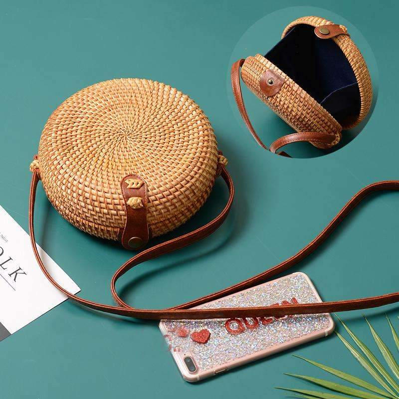 MiraVoss.com:Cross Body Round Straw Bag,boho