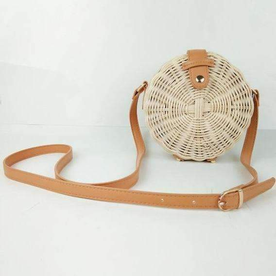 MiraVoss.com:Cross Body Round Straw Bag,natur