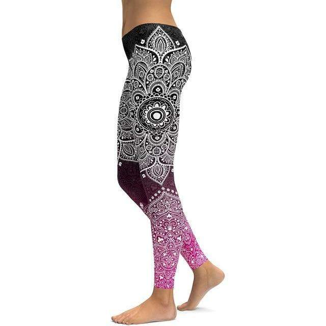Mandala Colorful Black Leggings