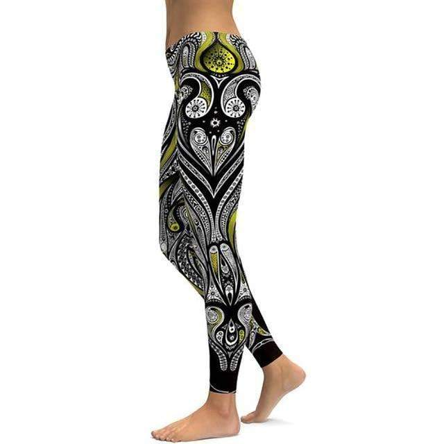 Yellow Ornament Leggings,Black 1 / S