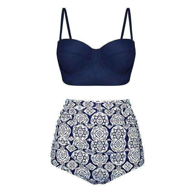 MiraVoss.com:Underwire Retro floral High Waist Push Up Bikinis Set,Navy / L
