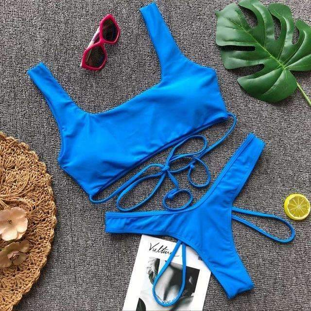 MiraVoss.com:Strappy Bandage High Cut Swimsuit,Blue / M