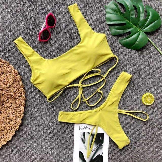 MiraVoss.com:Strappy Bandage High Cut Swimsuit,Green Yellow / M