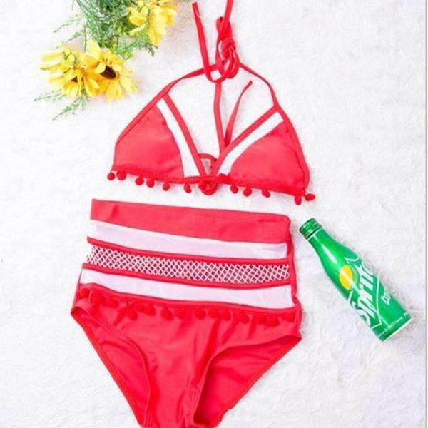 MiraVoss.com:Mesh High Waist Halter Bikini Set,Red / XL