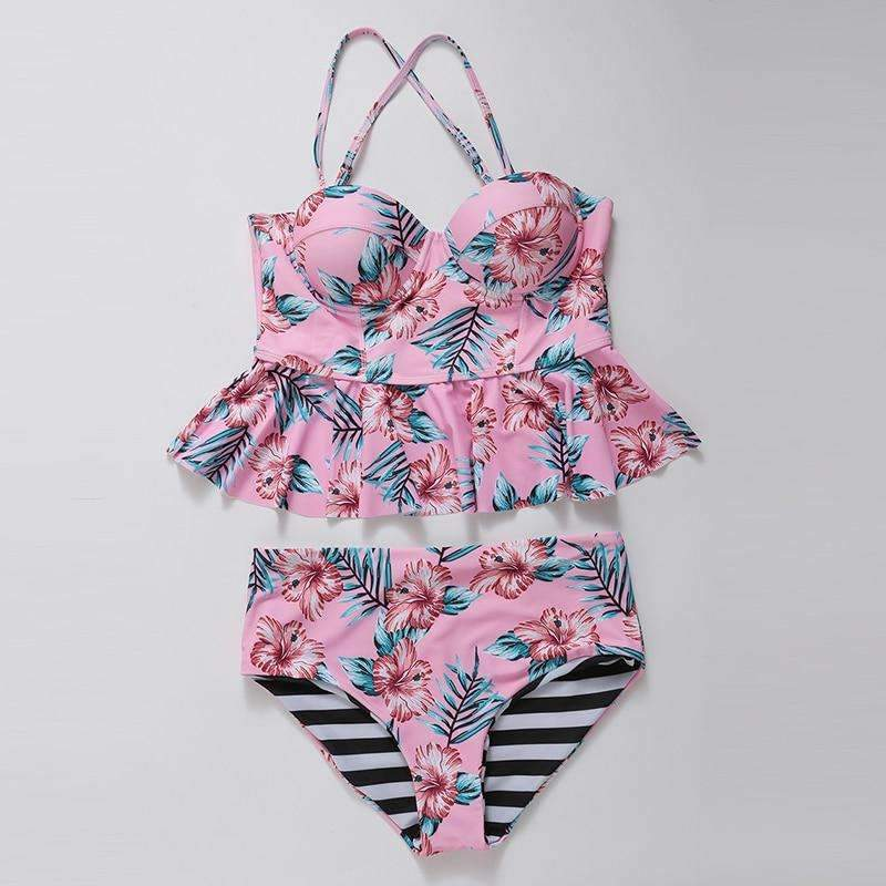 MiraVoss.com:Two-piece Tankini Set Floral Printed Bathing Suit,Pink Floral / L