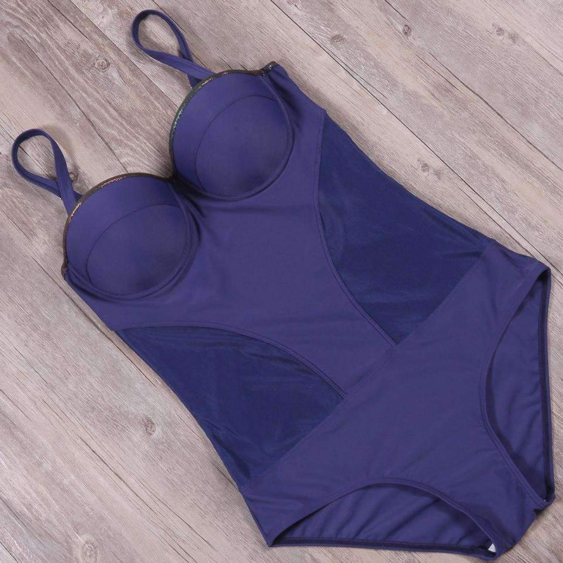 MiraVoss.com:Fused Bather Thong Backless Monokini,Navy Blue / XXL