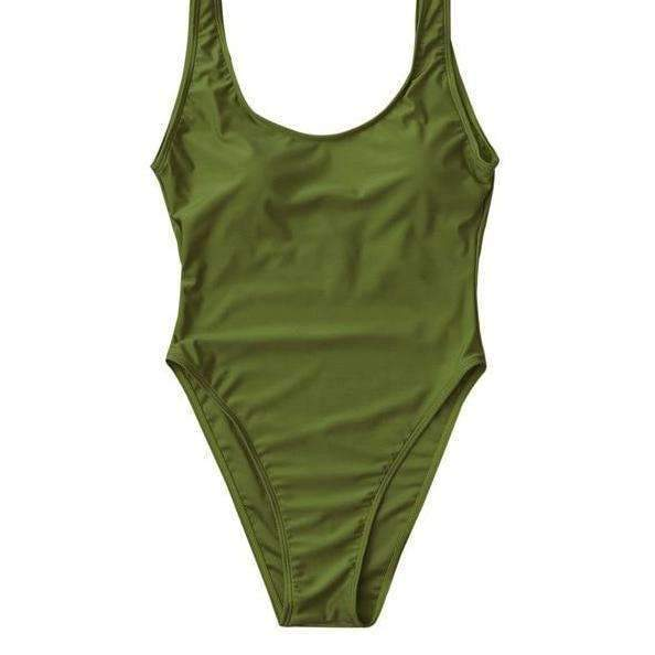 MiraVoss.com:U Neck High Cut Backless One Piece Swimsuit,Army Green / L