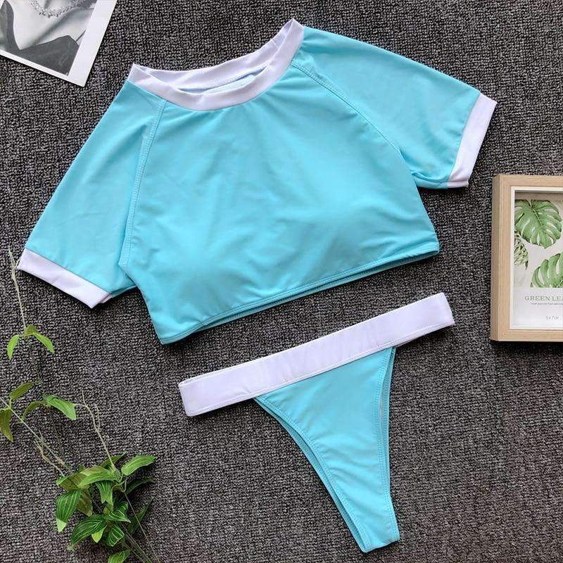 MiraVoss.com:Crop Top Sports Swimwear Brazil Thong Bikini,Sky Blue / M