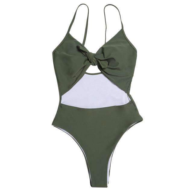 MiraVoss.com:Hollow Out Bowknot Backless Cut Out Monokini,Army Green / S