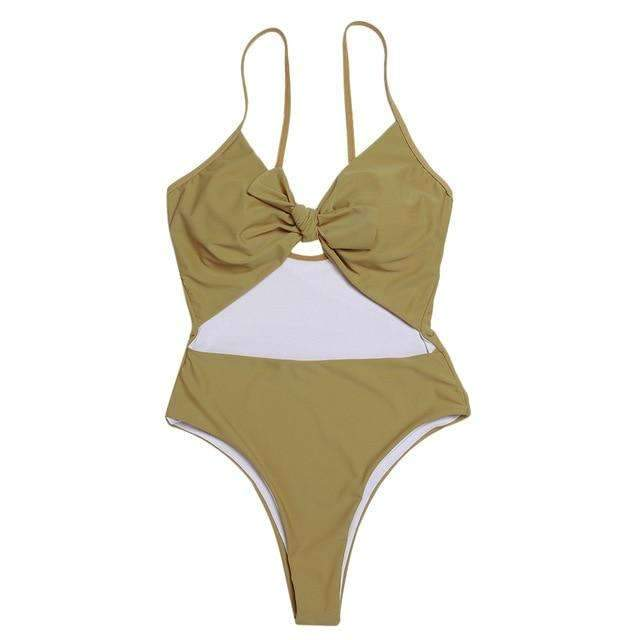 MiraVoss.com:Hollow Out Bowknot Backless Cut Out Monokini,Olive Green / S