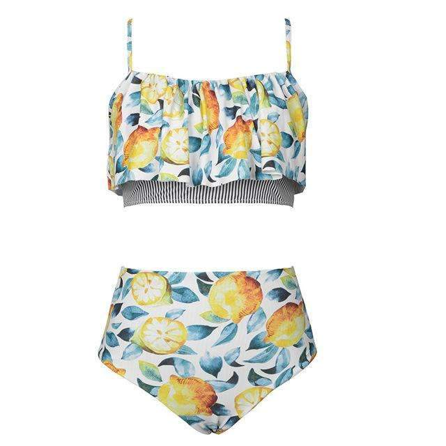 MiraVoss.com:Summer Lemon Print Ruffle Swimsuit,Multi / L