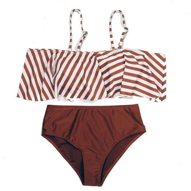 MiraVoss.com:Stripe Ruffle Solid High Waist Bikini,Brown / S