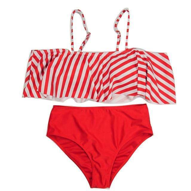 MiraVoss.com:Stripe Ruffle Solid High Waist Bikini,Red / S
